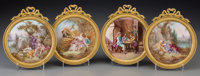 Four French Enameled and Gilt Bronze Plaques after François Boucher, late 19th-early 20th century 7-5/8 inches hi...