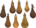 Arms Accessories:Flasks, Lot of Eight Antique Powder Flasks. ... (Total: 8 )