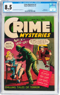 Golden Age (1938-1955):Crime, Crime Mysteries #1 (Ribage Publishing, 1952) CGC VF+ 8.5 White pages....