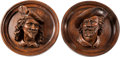 Decorative Arts, Continental, A Pair of Continental Carved Oak Cavalier Portrait Plaques, late19th century. 19 inches diameter x 7 inches deep (48.3 x 17...(Total: 2 Items)