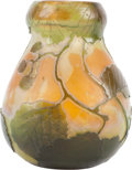Art Glass:Legras, A Legras Overlay Glass Green and Orange Vine Vase,Saint-Denis, France, France, circa 1920. Marks: Legras. 5...