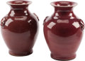 Asian:Chinese, A Pair of Small Chinese Oxblood Glazed Ceramic Vases. 6 inches high(15.2 cm). ... (Total: 2 Items)