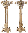 Decorative Arts, French:Lamps & Lighting, A Pair of Louis Philippe Gilt Bronze Seven-Light Candelabra, 19thcentury. 31 h x 14-1/2 w x 14-1/2 d inches (78.7 x 36.8 x ...(Total: 2 Items)
