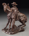 Fine Art - Sculpture, American:Modern (1900 - 1949), Wayne Hunt (American, 1904-1977). Saddling Up. Bronze withbrown patina. 9 inches (22.9 cm) high. Inscribed on base:W...