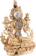 Asian:Chinese, A Rock Crystal, Gilt Metal, and Semi-Precious Stone Figure of Tara, 21st century. 8-1/2 h x 7 w x d 5 inches (21.6 x 17.8 x ...