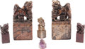 Asian:Chinese, Six Chinese Carved Hardstone Figural Seals. 7-1/4 inches high (18.4cm) (largest). ... (Total: 6 Items)