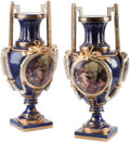 Ceramics & Porcelain, Continental:Other , A Pair of Sevres-Style Partial Gilt Porcelain Urns. Marks:(pseudo-Sevres marks). 23-1/2 h x 13 w x 9-1/2 d inches (59.7 x3... (Total: 2 Items)