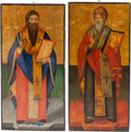Fine Art - Painting, European, Continental School (19th Century). Two Icons. Oil on board. 36-1/2 x 18-1/4 inches (92.7 x 46.4 cm). ... (Total: 2 Items)