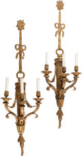 Decorative Arts, French, A Pair of French Gilt Bronze Three-Light Sconces. 39-1/2 h x 12-1/2w x 7 d inches (100.3 x 31.8 x 17.8 cm). ... (Total: 2 Items)