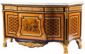 Furniture : French, A Louis XVI-Style Gilt Bronze-Mounted Marquetry Commode with MarbleTop in the Manner of Jean-Henry Riesener. 38 h x 69 w x ... (Total:2 Items)