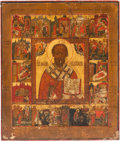 Decorative Arts, Continental, Russian School (19th Century). Icon. Oil on board. 21-1/2 x18 inches (54.6 x 45.7 cm). ...
