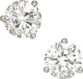 Estate Jewelry:Earrings, Diamond, White Gold Earrings . ...