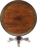 Furniture , An English Regency Brass Inlaid Rosewood Breakfast Table, 19th century. 29-1/2 inches high x 47-1/2 inches diameter (74.9 x ...