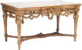 Furniture , A Louis XVI-Style Carved Giltwood Salon Table with ChinoiseriePainted Top. 30 h x 53-1/2 w x 31 d inches (76.2 x 135.9 x 78...