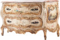 Furniture , A Venetian Rococo-Style Painted Commode with Marble Top. 34-1/2 h x 59-1/2 w x 24 d inches (87.6 x 151.1 x 61.0 cm). ...