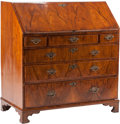 Furniture , A George III Walnut Slant-Front Desk with Fitted Interior, early 19th century. 41-1/2 h x 28-1/4 w x 21-1/2 d inches (105.4 ...