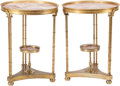 Furniture , A Pair of Neoclassical-Style Gilt Bronze Mounted Gueridons with Marble Tops . 27 inches high x 20-1/2 inches diameter (68.6 ... (Total: 2 Items)