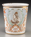 Decorative Arts, British:Other , An English Queen Victoria Diamond Jubilee Commemorative EnameledCup, circa 1897. 3-3/4 inches high (9.5 cm). ...