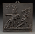 Decorative Arts, French:Other , A French Cast Iron Commemorative Plaque: Les Francais a Waterloo1815, 19th century. 6-1/2 inches high x 6-5/8 inche...