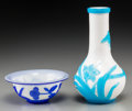 Asian:Chinese, A Chinese Peking Glass Bottle Vase and Bowl. 6-3/4 inches high (17.1 cm) (vase). 1-7/8 inches high x 4-5/8 inches diameter (... (Total: 2 Items)