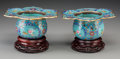 Asian:Chinese, A Pair of Chinese Faux-Cloisonné Enameled Low Vases, 19th century.2-3/4 inches high x 6-3/8 inches wide (7.0 x 16.2 cm) (ex...(Total: 4 Items)