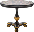 Furniture , An Empire-Style Ebonized and Parcel Gilt Games Table with Specimen Marble Top. 28-3/4 inches high x 35-1/2 inches diameter (...