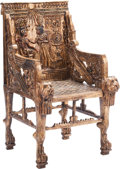 Furniture , A Pair of Egyptian Revival-Style Carved Giltwood and Polychrome Painted Throne Chairs. 45 h x 23 w x 28 d inches (114.3 x 58... (Total: 2 Items)