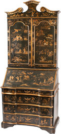 Furniture : Continental, A Dutch Rococo-Style Japanned Secretary Bookcase . 100 h x 41 w x24 d inches (254 x 104.1 x 61.0 cm). ...