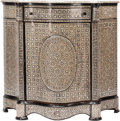 Furniture : Continental, A Franco Moorish-Style Ebonized Wood and Mother-of-Pearl InlaidConsole Cabinet, late 20th century. 42-3/4 h x 45 w x 18-1/4...