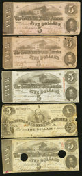 Confederate Notes:Group Lots, Selection of $5 Issues T36; T53(2); T60(2) 1861-63.. ... (Total: 5notes)