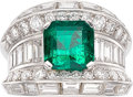 Estate Jewelry:Rings, Colombian Emerald, Diamond, Platinum Ring . ...