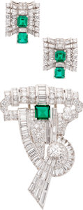 Estate Jewelry:Suites, Colombian Emerald, Diamond, Platinum, Gold Jewelry Suite. ...(Total: 2 Items)