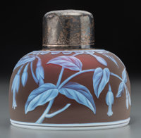 An English Cameo Glass and Silver-Plated Inkwell attributed to Thomas Webb, late 19th-early 20th century 3-1/8 inc