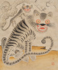 Asian, A Japanese Leaf Painting Depicting Tigers. 23-1/2 x 19-1/2 inches(59.7 x 49.5 cm) (image). ...