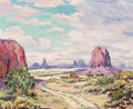 Fine Art - Painting, American, Lucile Leggett (American, 1896-1966). Monument Valley. Oilon canvas. 20 x 24 inches (50.8 x 61.0 cm). Signed lower righ...