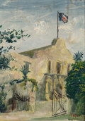 Fine Art - Painting, American:Modern  (1900 1949)  , Rafaela Rivera (American, 20th Century). The Alamo, 1930.Oil on board. 5-1/2 x 4-1/4 inches (14.0 x 10.8 cm). Signed an...