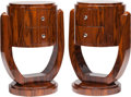 Furniture : Continental, A Pair of Art Deco-Style Barrel-Form Bedside Commodes, late 20thcentury. 30-1/2 h x 21-1/2 w x 18-1/2 d inches (77.5 x 54.6...(Total: 2 Items)
