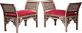 Furniture : Continental, A Pair of Moorish Mother-of-Pearl Inlaid Window Benches, late 20th century. 32-1/2 h x 48 w x 19-3/4 d inches (82.6 x 121.9 ... (Total: 2 Items)