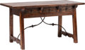 Furniture : Continental, A Spanish Baroque-Style Walnut and Wrought Iron Two-Drawer TrestleTable. 30-1/4 h x 56 w x 28 d inches (76.8 x 142.2 x 71.1...