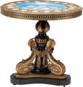 Furniture , A Sevres-Style Porcelain, Gilt Bronze-Mounted, and Ebonized Wood Table after a Napoleon III Example, late 19th century with ...