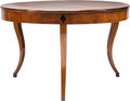 Furniture : Continental, A Biedermeier-Style Inlaid Fruitwood Center Table. 32 inches high x50 inches diameter (81.3 x 127 cm). ...