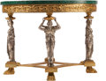 Furniture , An Empire-Style Gilt and Silvered-Bronze Caryatid Salon Table with Malachite Top, 20th century. 32 inches high x...