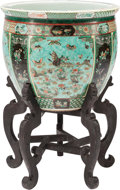 Asian:Chinese, A Chinese Famille Verte Porcelain Fishbowl on Stand, late 19thcentury. 19 inches high x 20 inches diameter (48.3 x 53.3 cm)...(Total: 2 Items)