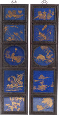 Asian:Chinese, A Pair of Chinese Ebonized Wood and Partial Gilt Porcelain Panels.59-3/4 h x 15-1/2 w x 1-1/4 d inches (151.8 x 39.4 x 3.2 ...(Total: 2 Items)