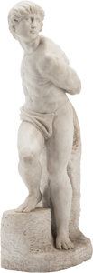 Decorative Arts, Continental, A Carved Carrera Marble Figure after Michelangelo: The Rebellious Slave for the Tomb of Julius II. 36 h x 9 w x 12 d...