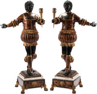 A Pair of Italian Renaissance-Style Carved Wood, Semi-Precious Stone and Gilt Bronze-Mounted Blackamoors 72 h x 21