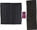Luxury Accessories:Accessories, Louis Vuitton Set of Three; Black Monogram Silk Mousseline &Silver Monogram Chale Lurex Scarves and Purple Cashmere Gloves...(Total: 3 Items)