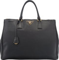 """Luxury Accessories:Bags, Prada Black Saffiano Leather Lux Tote Bag. Very GoodCondition. 16"""" Width x 11.5"""" Height x 7"""" Depth. ..."""