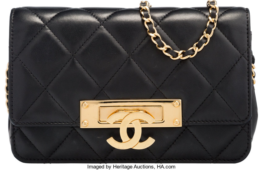 6f3fdd9d0f78ee Chanel Black Quilted Lambskin Leather Wallet On Chain - Best Quilt ...