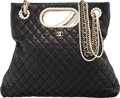 "Luxury Accessories:Bags, Chanel Black Quilted Lambskin Leather & Glass Pearl ShoulderBag. Very Good to Excellent Condition. 12"" Width x 6""Hei..."